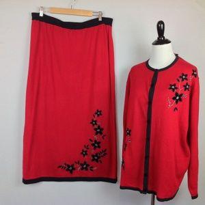 Dress Barn Cardigan Maxi Skirt Set Womens 22W 24W
